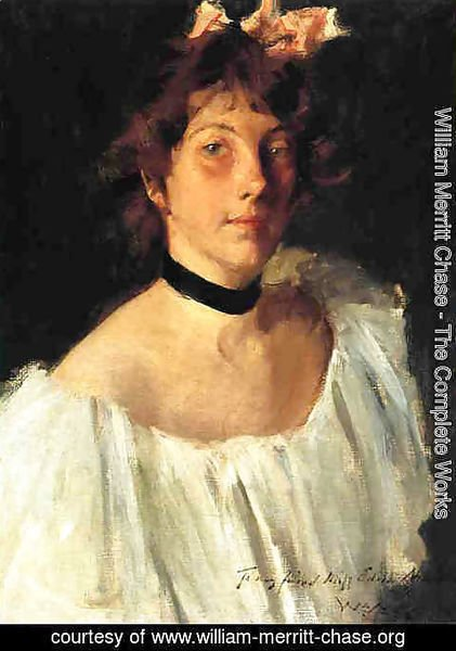 William Merritt Chase - Portrait of a Lady in a White Dress (or Miss Edith Newbold)
