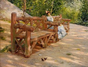 William Merritt Chase - Park Bench (or An Idle Hour in the Park - Central Park)