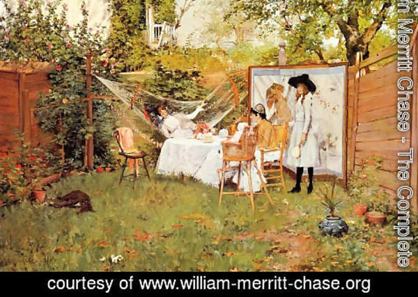 William Merritt Chase - The Open Air Breakfast (or The Backyard, Breakfast Out of Doors)