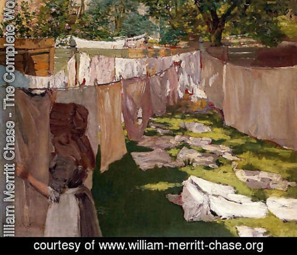 William Merritt Chase - Wash Day - A Back Yard Reminiscence of Brooklyn