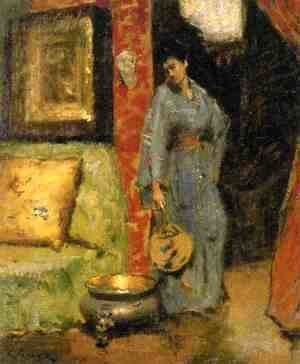 William Merritt Chase - Woman in Kimono Holding a Japanese Fan