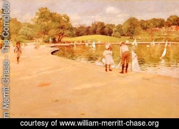 William Merritt Chase - Lilliputian Boat-Lake - Central Park (or Lilliputian Boats in the Park; Central Park)