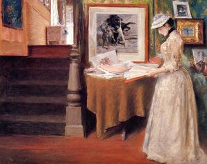 Interior, Young Woman at a Table
