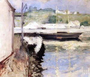 William Merritt Chase - Fish Sheds and Schooner, Gloucester