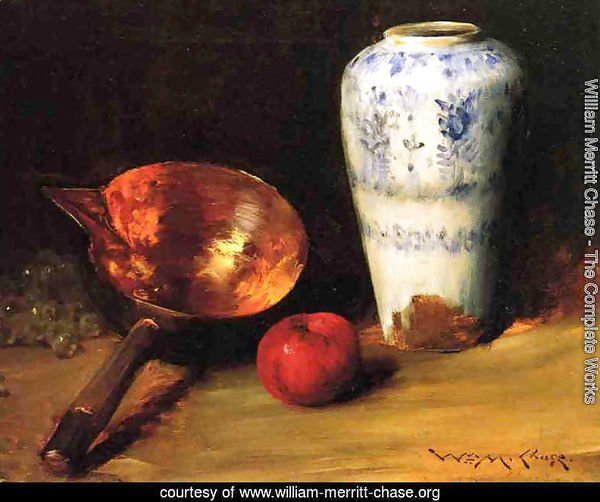 Still Liife with China Vase, Copper Pot, an Apple and a Bunch of Grapes