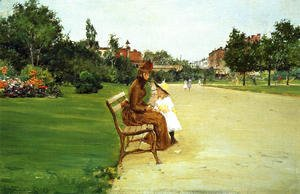 William Merritt Chase - The Park, mother and girl