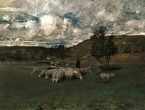 William Merritt Chase - View near Polling with sheep