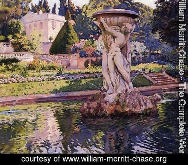 William Merritt Chase - Garden with Villa and Fountain 1924
