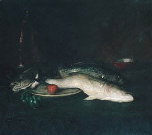 William Merritt Chase - Still Life Fish 1908