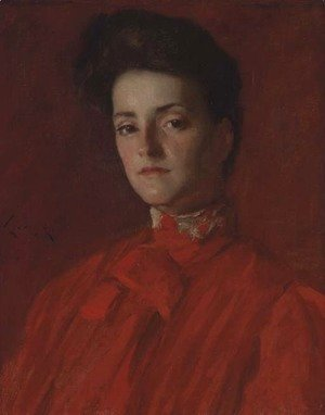 William Merritt Chase - A Lady in Red