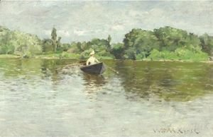William Merritt Chase - On The Lake, Prospect Park