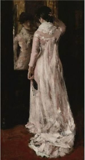 William Merritt Chase - I Think I Am Ready Now (The Mirror, The Pink Dress)