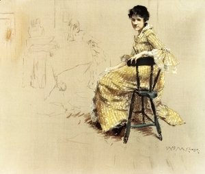 William Merritt Chase - Seated Woman in Yello Striped Gown