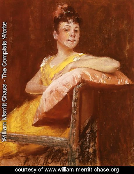 William Merritt Chase - A Girl in Yellow (aka The Yellow Gown)
