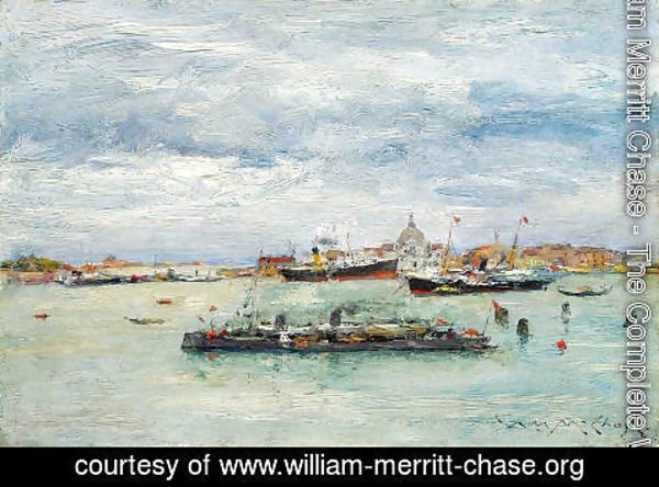 William Merritt Chase - Gray Day on the Lagoon (A Passenger Boat - Venice)