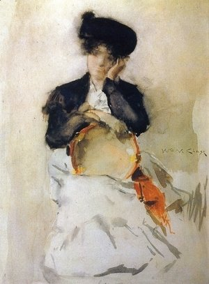 William Merritt Chase - Girl with Tambourine