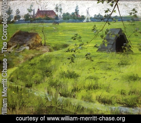 William Merritt Chase - A Bit of Holland Meadows (aka A Bit of Green in Holland)