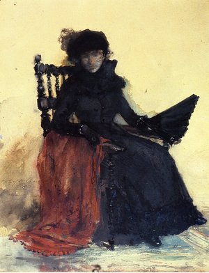 William Merritt Chase - A Lady in Black (aka The Red Shawl)