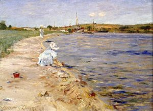 William Merritt Chase - Beach Scene   Morning At Canoe Place