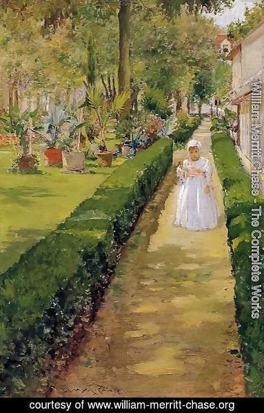 William Merritt Chase - Child On A Garden Walk