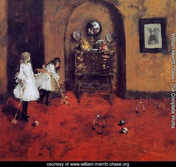 Children Playing Parlor Croquet (sketch)