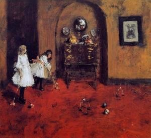 William Merritt Chase - Children Playing Parlor Croquet (sketch)