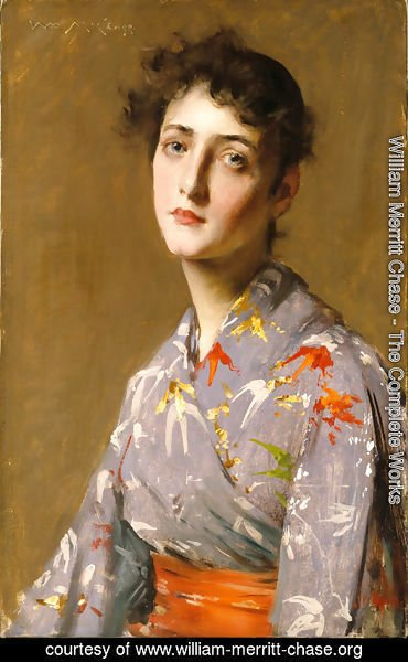 William Merritt Chase - Girl In A Japanese Kimono
