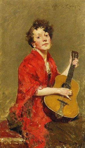 William Merritt Chase - Girl With Guitar