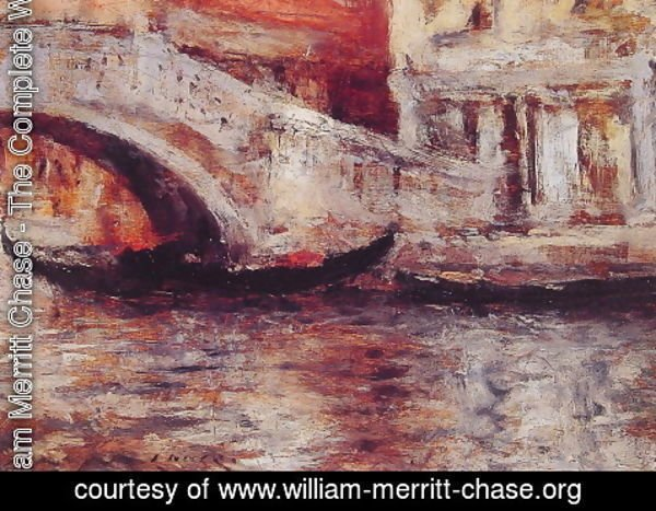 William Merritt Chase - Gondolas Along Venetian Canal