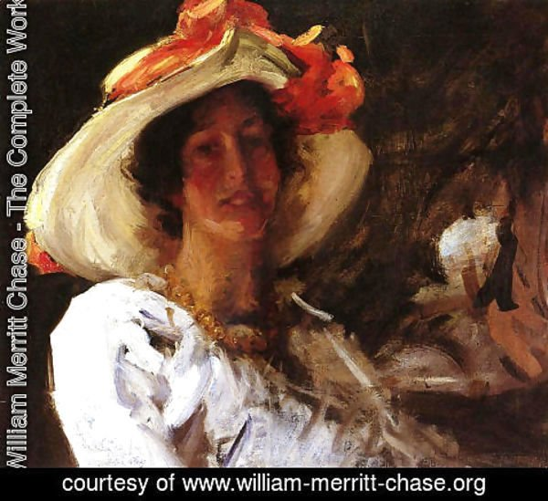 William Merritt Chase - Portrait Of Clara Stephens Wearing A Hat With An Orange