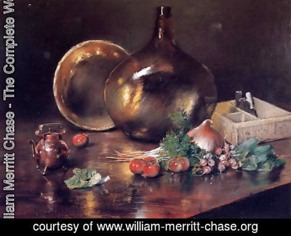 William Merritt Chase - Still Life (Brass And Glass)